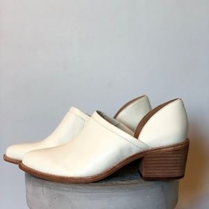 Madewell Ivory Block Heel Side Cut Leather Bootie